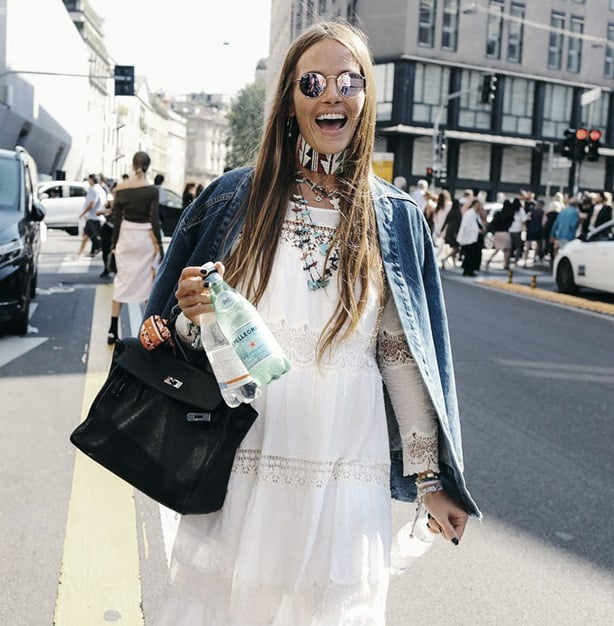 Milan Fashion Week Street Style - Boho Maxi Dresses and retro flair layers.