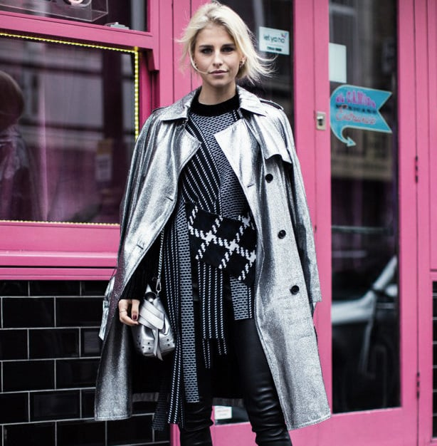 London Fashion Week Street Style featuring eye catching Metallics.