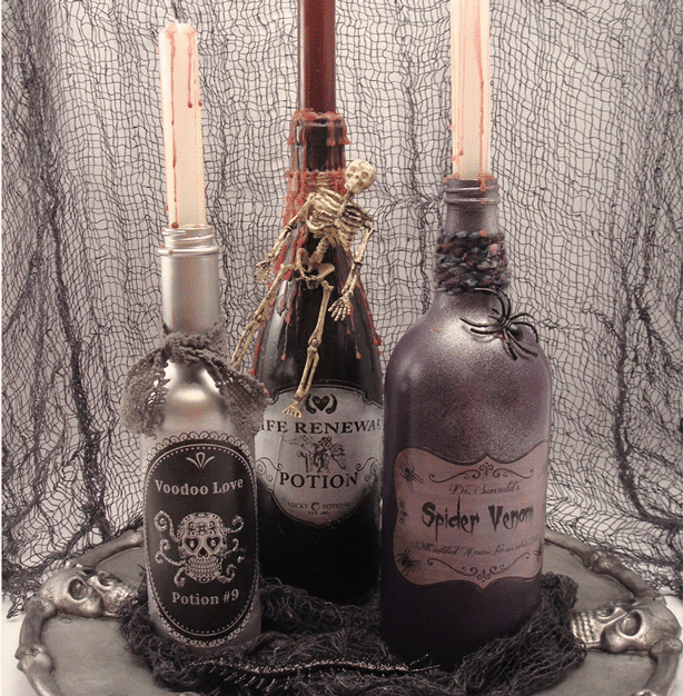DIY Halloween Decor - Potion Bottles