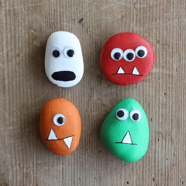 DIY Halloween Decor - Pebble Monsters