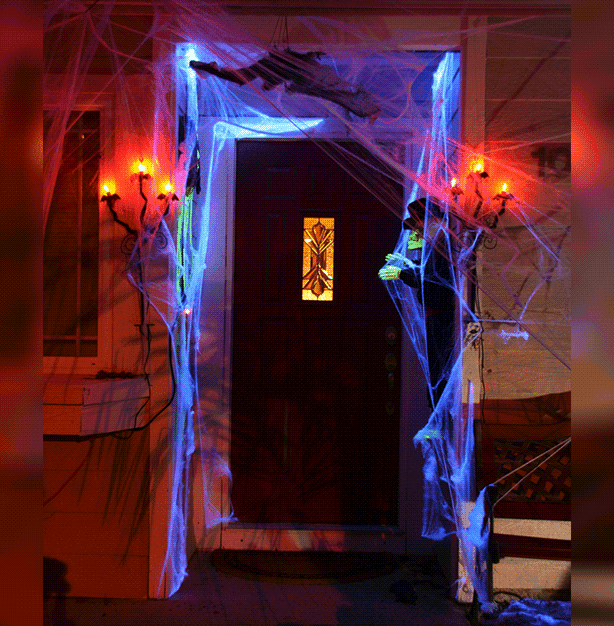 A spooky entrance-way will welcome guests to your Halloween party.