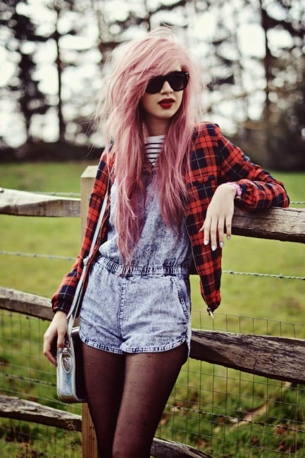 Grunge style with pastel hair