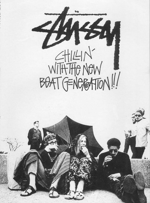 A picture of people wearing vintage streetwear fashion, with the words 'chillin with the new beat generation' graffiti in the background
