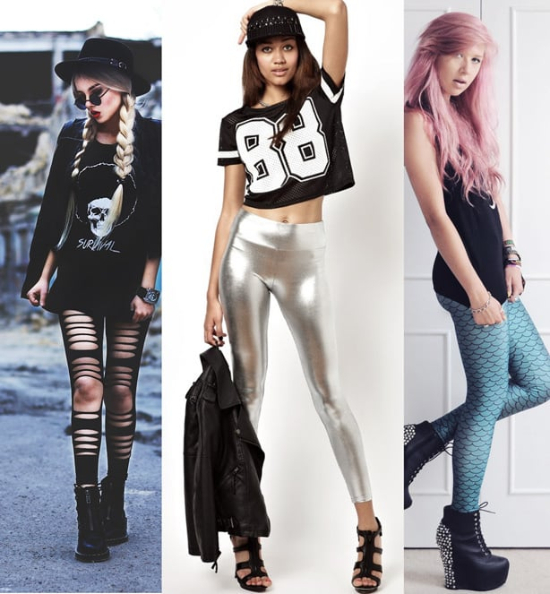 Picture collage of three models wearing different leggings outfits; grunge outfit with slashed black leggings, a sporty outfit with metallic slilver leggings and a cute outfit with mermaid print metallic leggings