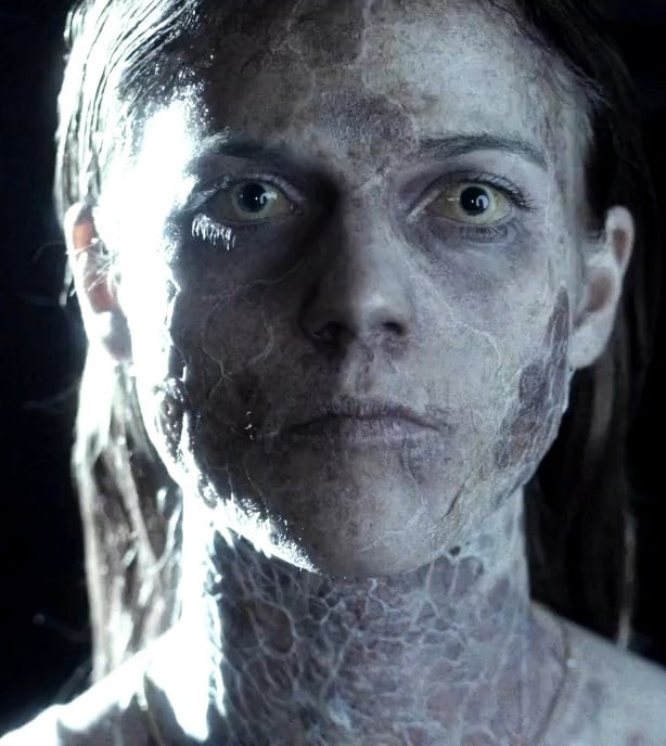 Rose Leslie in the Horror film Honeymoon, appearing as a monster