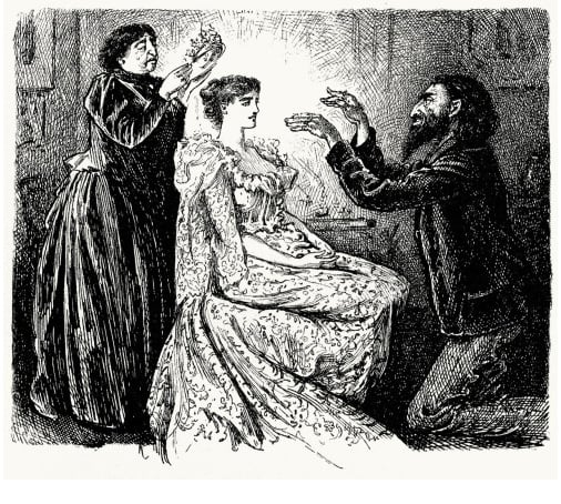 Line drawing to illustrate the victorian practise of mesemerism in which a woman is being hypnotised using animal magnetism