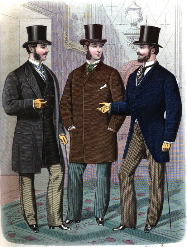 A historical illustration of mens fashion in the 1800s including pockets, top hats and formal attire