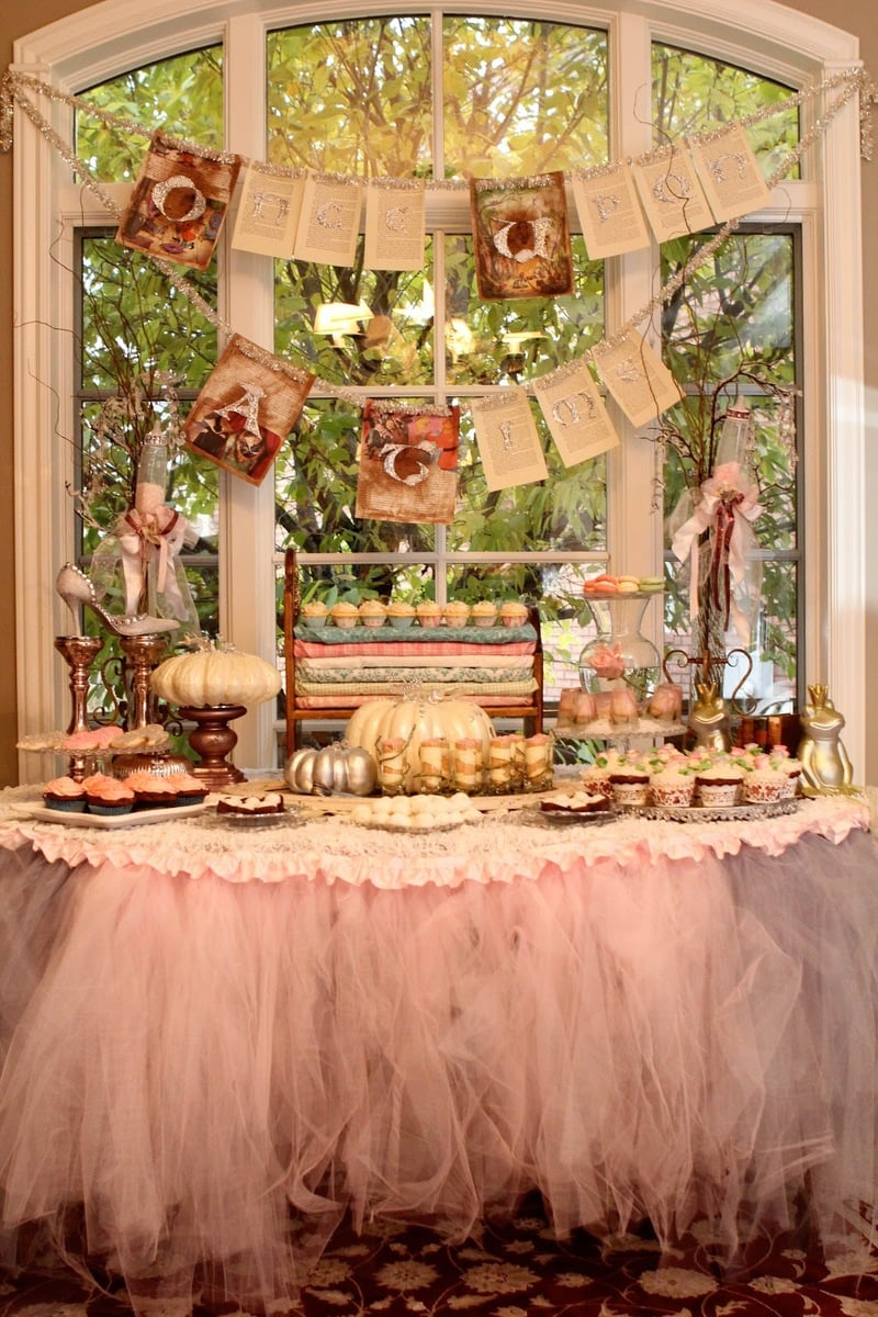 Victorian fairytale steampunk baby shower table decor, food and decorations