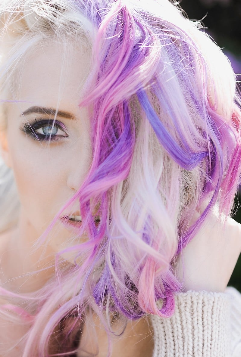 Beautiful purple and pink pastel hair color