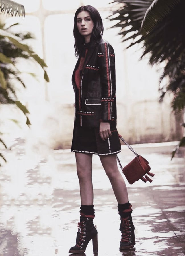 Cool style form Tali Lennox, rocking lace up ankle boots, leather jacket with stitch detailing
