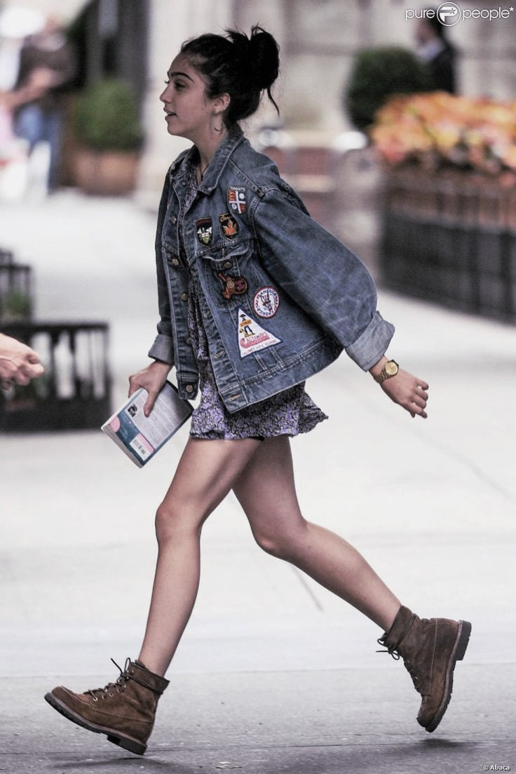 Lourdes Leon - street style denim jacket and worker boots
