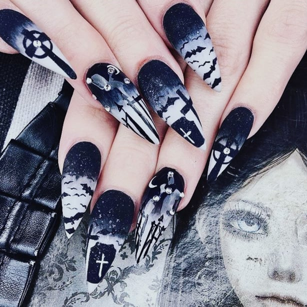 Your Guide to Acrylic Nails: Creepy Gothic Nail Art with Bats & Graveyard Scene