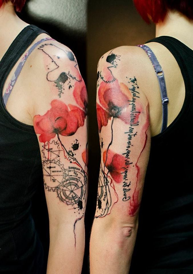 Beautiful watercolor arm tattoo design: Red poppies tattoo with black detailing