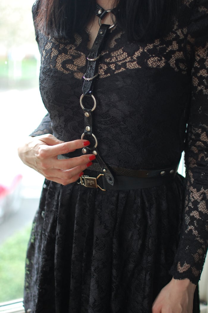 How to Style a Gothic Harness: Gothic Harness over Lace Skater Dress