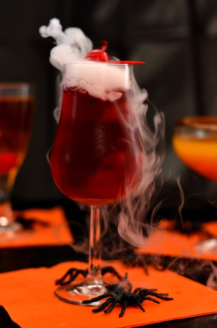 bloody vampire Halloween cocktail with vodka and cranberry