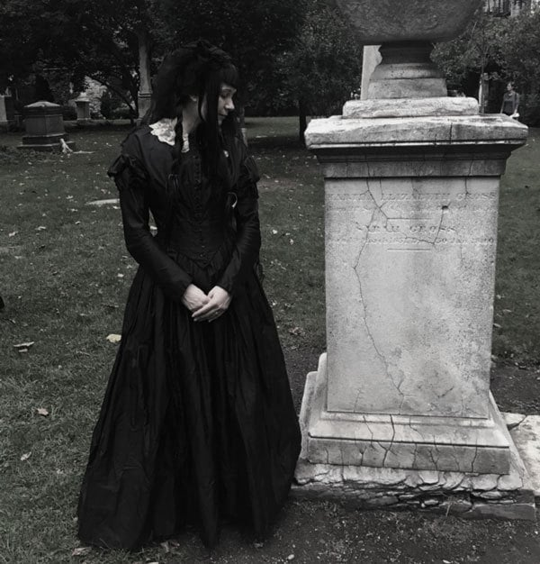 Victorian Gothic mourning attire at New York City Marble Cemetery