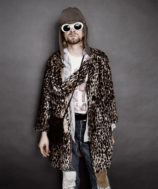 Kurt Cobain sporting stereotypical eclectic grunge fashion