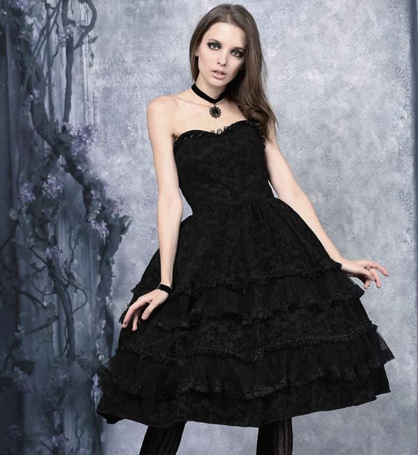 Gothic Evening Dresses That Flatter a Smaller Bust: Strapless Gothic Ballgowns