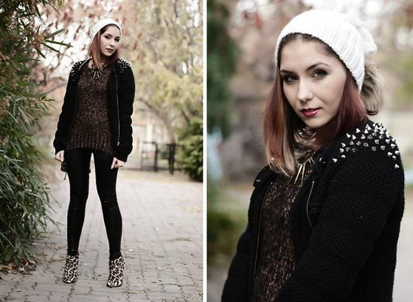 Industrial goth outfit with a spiked gothic cardigan