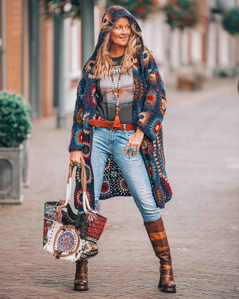 Boho-chic woman in jacket