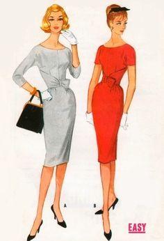 1950s womens dresses illustration