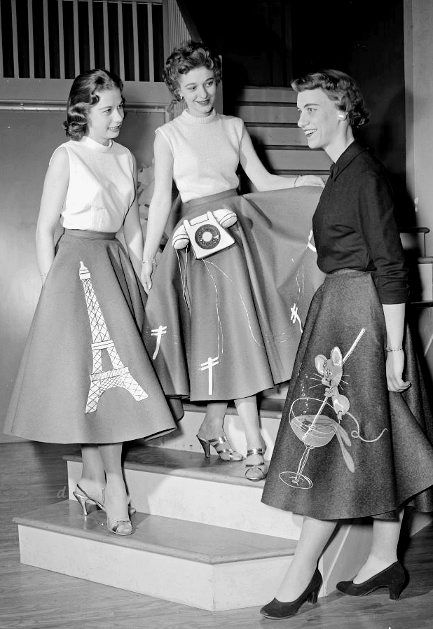 1950s skirts for women: vintage photograph