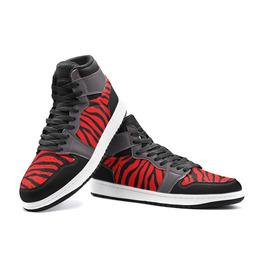 Elliz Zebra Print Unisex Retro Basketball Sneakers - Red / Grey / Black
