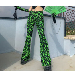 Dark Forest Cyber Green Flame Print Trapizoid Womens Pants