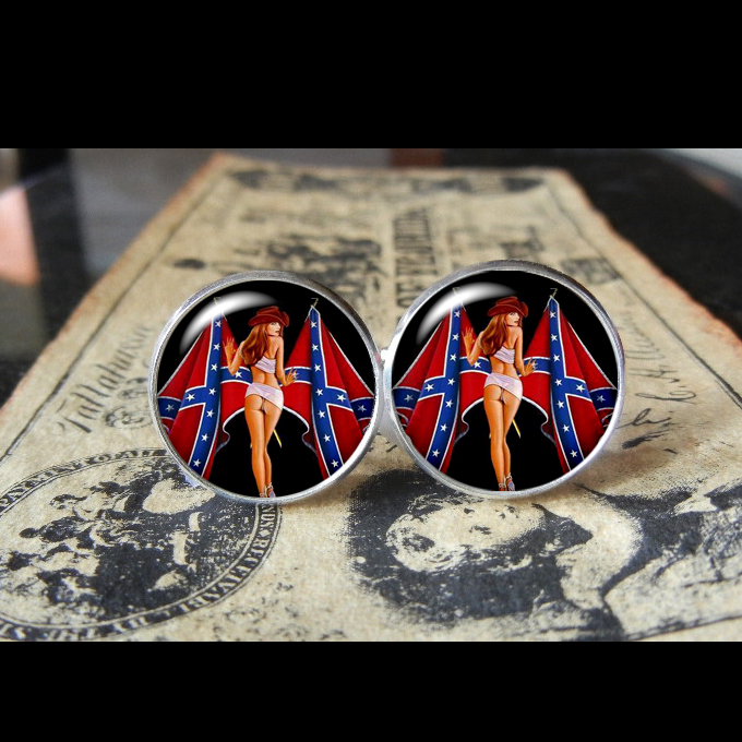 Confederate flag gal cuff links men wedding groomsmen cufflinks
