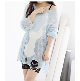 Light Blue Deer Print Fashion Women Sweater