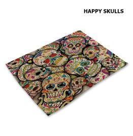 Skull Print Multicolor Kitchen Mat