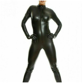 Women Leather Jumpsuit Catsuit Black Leder Overall Underwired Sexy Bust