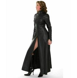 Women's Genuine Leather Dress Sexy Feminine Long Zipper Fit Overall