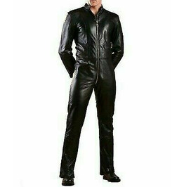 MENS BLACK GENUINE SOFT LEATHER JUMPSUIT CATSUIT OVERALL BODYSUIT ALL SIZE