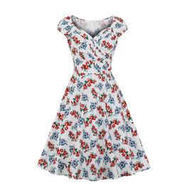 Women's Square Neck Floral Retro Dress