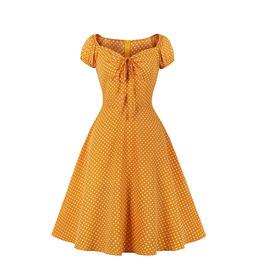 Women's Polka Dot Drawstring Retro Color-blocking Dress