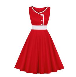 Retro Elegant Color-blocking Maxi Dress