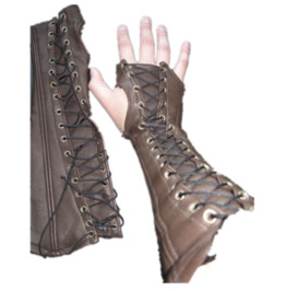 Dark Forest Steampunk Faux Leather Black Brown Gloves Sleeve Accessories