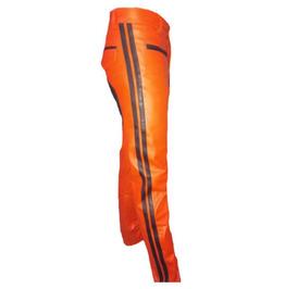 Men's Real Leather Biker Style Fashion Orange Pant Contrast Panel Work