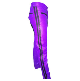 Men's Real Leather Biker Style Fashion Purple Pant Contrast Panel Work