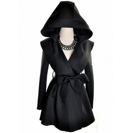 Black Hooded Ribbon Tie Mini Trench Coat