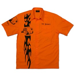 Chaquetero's Hot Rod Men's Casual Work Shirt Flaming V8 Power Rat Rod Orange