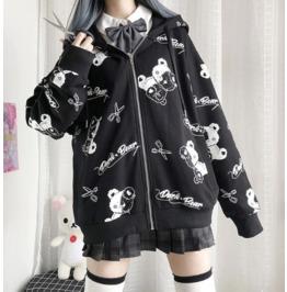 Darkforest Harajuku Dark Bear Print Hoodie Sweater Womens Top