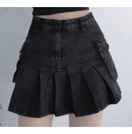 Darkforest Dark Grey Jeans Womens Mini Skirt Bottom