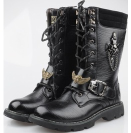 Metal Skull Straps Lace Low Heel Boots