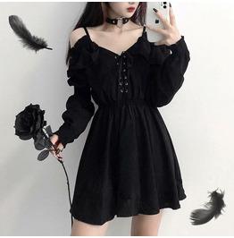 Women Dress Plus Size Lace Up Black Autumn High Waist Femme Off Shoulder