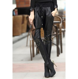 Rivets Studded Skull Slim Pu Pants
