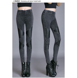 Stylish Patchwork Slim Denim Pants