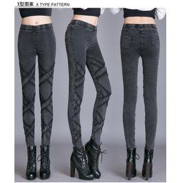 Stylish Dark Grey Cross Slim Denim Pants