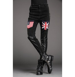 Stylish Patchwork Flags Skull Slim Denim Pants